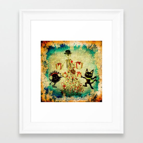 Mr. Bone Whim And The Evil Flower Bug Wish You a Merry Christmas Framed Art Print