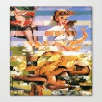 Glitch Pin-Up Redux: Xena Canvas Print
