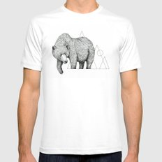 'Wildlife Analysis IV' SMALL White Mens Fitted Tee