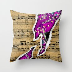 Ripped Music Note with Circuit Board Throw Pillow