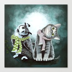 Cat and Owl Canvas Print