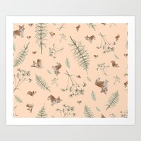 pale pink holiday corgi Art Print
