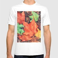 Autumn Leaves Mens Fitted Tee White SMALL