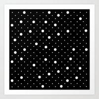 Pin Point Polka Dots Whi… Art Print