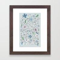 Globos en el jardín Watercolor Framed Art Print