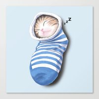Cat in the Sock Canvas Print
