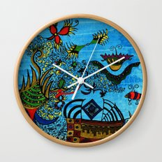 about angels and pirates Wall Clock