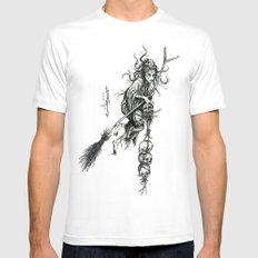 Witch SMALL White Mens Fitted Tee