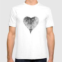 heart b&w Mens Fitted Tee White SMALL