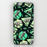 90's Dinosaur Skeleton Neon Pattern iPhone & iPod Skin
