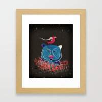 Bullfinch And Bear Framed Art Print