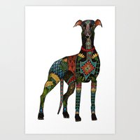 greyhound white Art Print