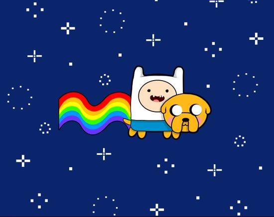 Nyan Time: Adventure Time plus Nyan Cat Art Print