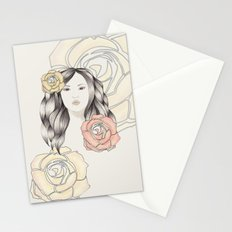 Whimsical Face with Pastel Roses Stationery Cards