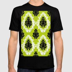 Victorian Damask Green White Black Mens Fitted Tee Black SMALL