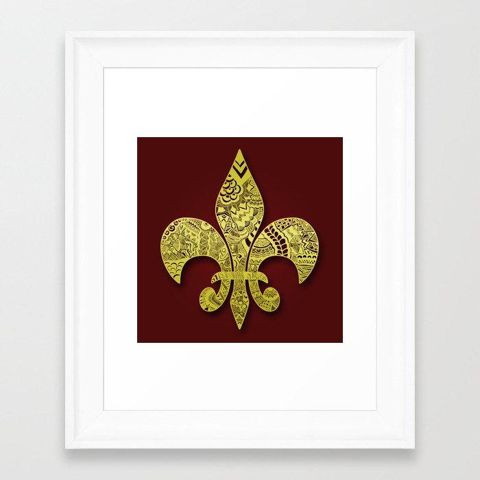 Gold Fleur De Lis Framed Art Print By Riaora Creations