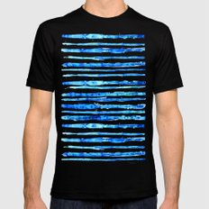 Blue Ink Stains Mens Fitted Tee Black SMALL