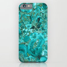 Marble Turquoise Blue Gold iPhone 6 Slim Case