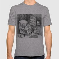 Whale Reader Mens Fitted Tee Athletic Grey SMALL