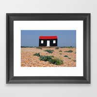 Beach Hut With A Red Roo… Framed Art Print