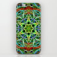 Feathered texture mandala in green and brown iPhone & iPod Skin