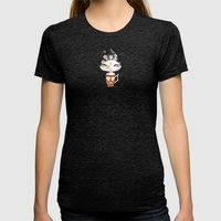 Miss Tea-Time Womens Fitted Tee Tri-Black SMALL