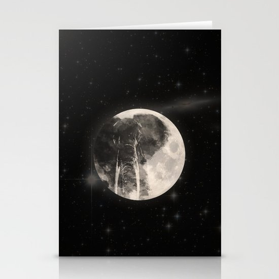 The Elephant in The Moon Stationery Card