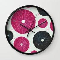 Sea's Design - Urchin Skeleton (Pink & Black) Wall Clock
