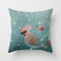 Tweet in the Snow Throw Pillow