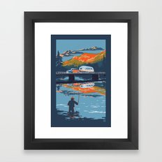 Retro Airstream Travel poster Framed Art Print