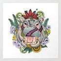 Hippo & Jacaranda Art Print
