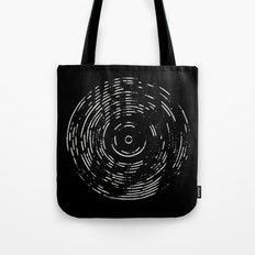 Record White on Black Tote Bag