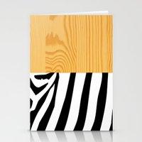Zebra On Wood Stationery Cards