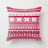 Red Fair Isle Christmas … Throw Pillow