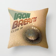 Iron Breasts Throw Pillow
