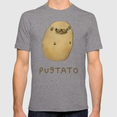 Pugtato Mens Fitted Tee Tri-Grey SMALL