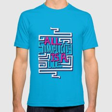 All Simplicity Is A Lie Mens Fitted Tee Teal SMALL