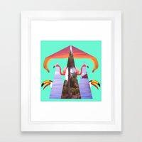 Off Shore Firework Show Framed Art Print