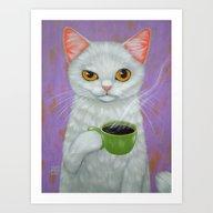 WHITE CAT AND BLACK COFF… Art Print