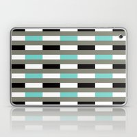 Turquoise, black & gray line pattern Laptop & iPad Skin