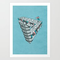 Up And Down City Art Print