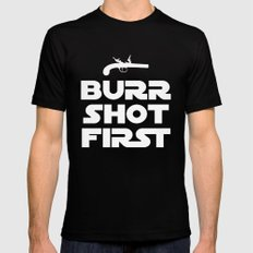 HAMILTON THE BROADWAY MUSICAL- BURR SHOT FIRST Mens Fitted Tee Black SMALL