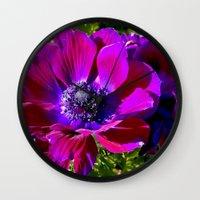 Burgundy Poppy Anemone I Wall Clock