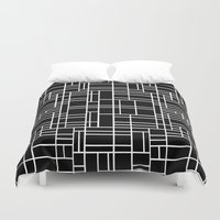 Map Outline White On Bla… Duvet Cover