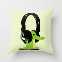 Le crocodile mélomane Throw Pillow