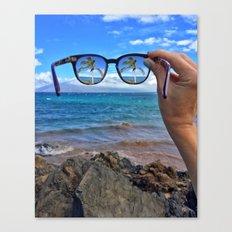 Hawaii Sunglasses Palmtrees Canvas Print