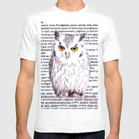 Wise Old Owl Mens Fitted Tee White SMALL