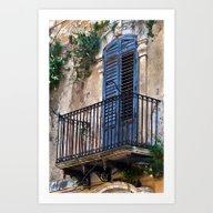 Blue Sicilian Door On Th… Art Print
