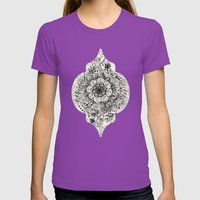 Messy Boho Floral In Cha… Womens Fitted Tee Ultraviolet SMALL
