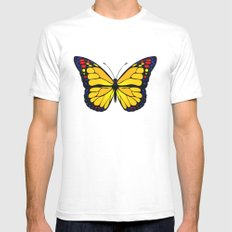 Yellow butterfly Mens Fitted Tee White SMALL